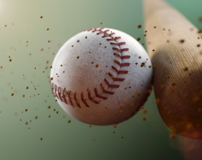 Baseball bat hitting ball in slow motion: MLB's social media efforts: Twitter, Trends, Campaigns